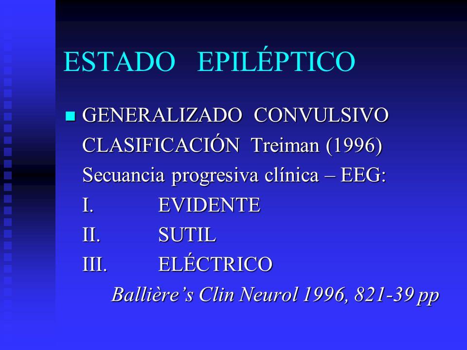 ESTADO EPILÉPTICO GENERALIZADO CONVULSIVO CLASIFICACIÓN Treiman (1996)