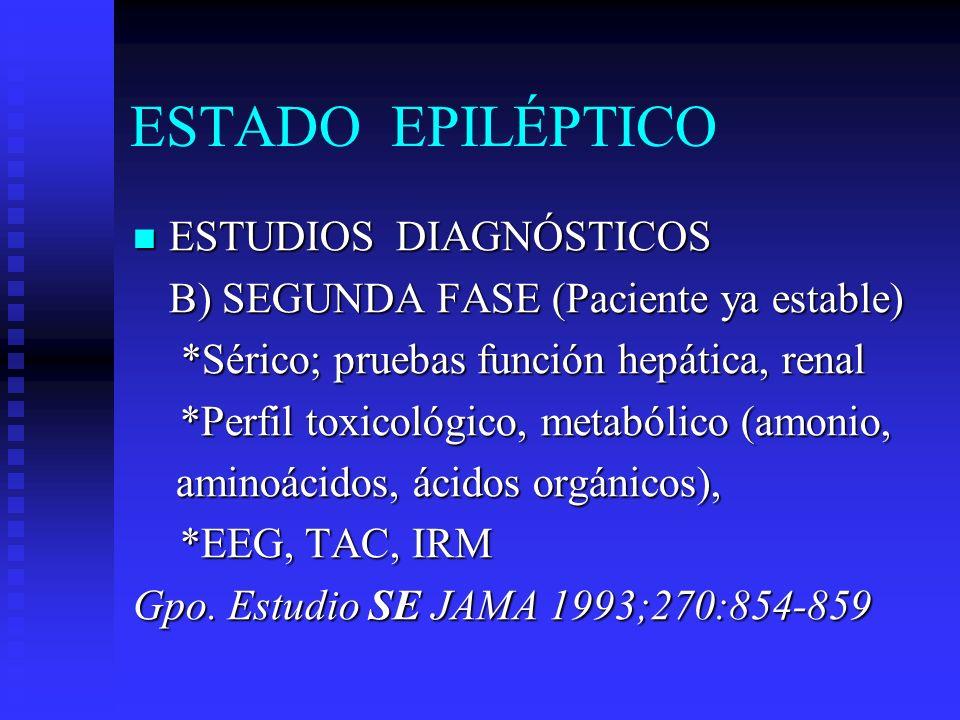 ESTADO EPILÉPTICO ESTUDIOS DIAGNÓSTICOS