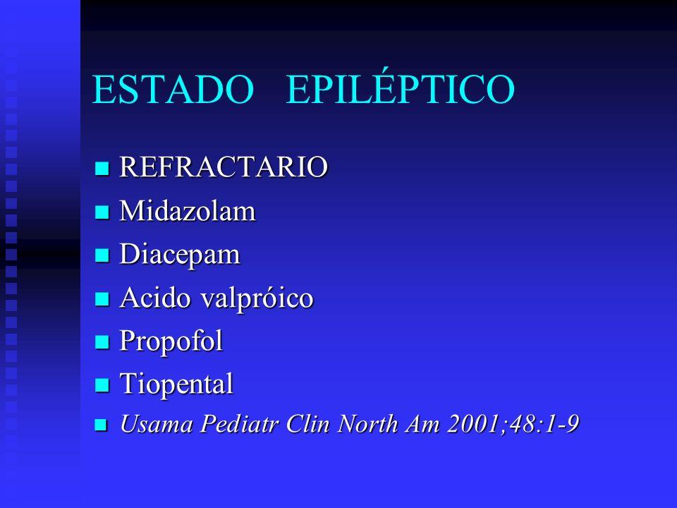 ESTADO EPILÉPTICO REFRACTARIO Midazolam Diacepam Acido valpróico