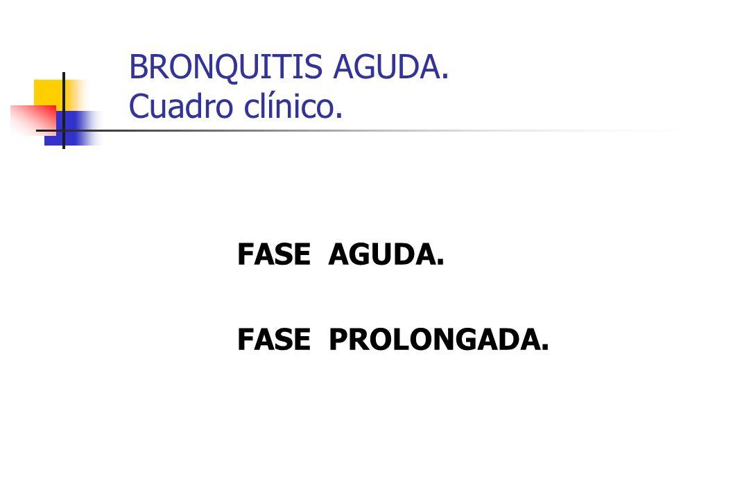 BRONQUITIS AGUDA. Cuadro clínico.