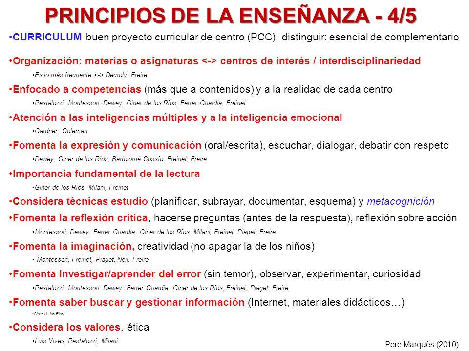 PRINCIPIOS DE LA ENSEÑANZA - 4/5