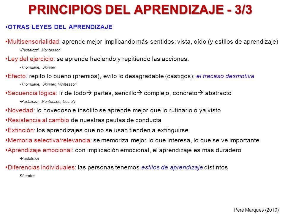 PRINCIPIOS DEL APRENDIZAJE - 3/3