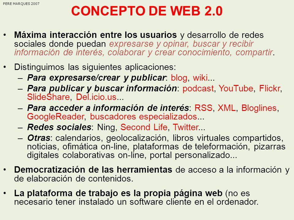 CONCEPTO DE WEB 2.0 PERE MARQUES 2007.