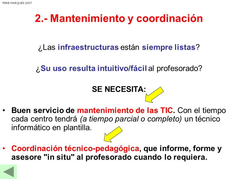 2.- Mantenimiento y coordinación