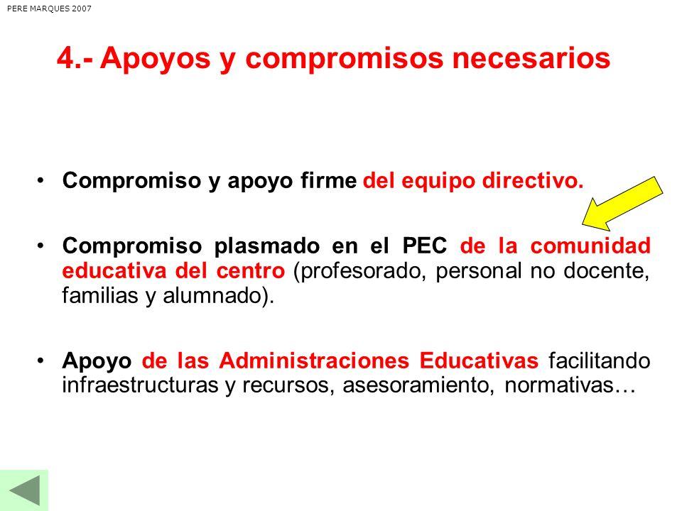 4.- Apoyos y compromisos necesarios