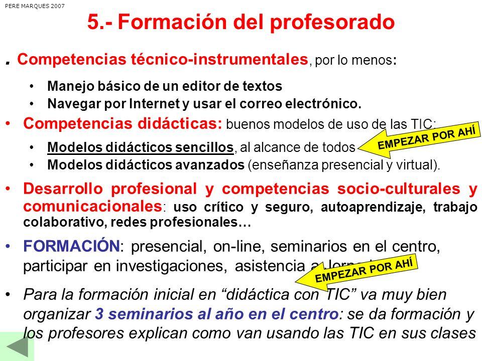 5.- Formación del profesorado