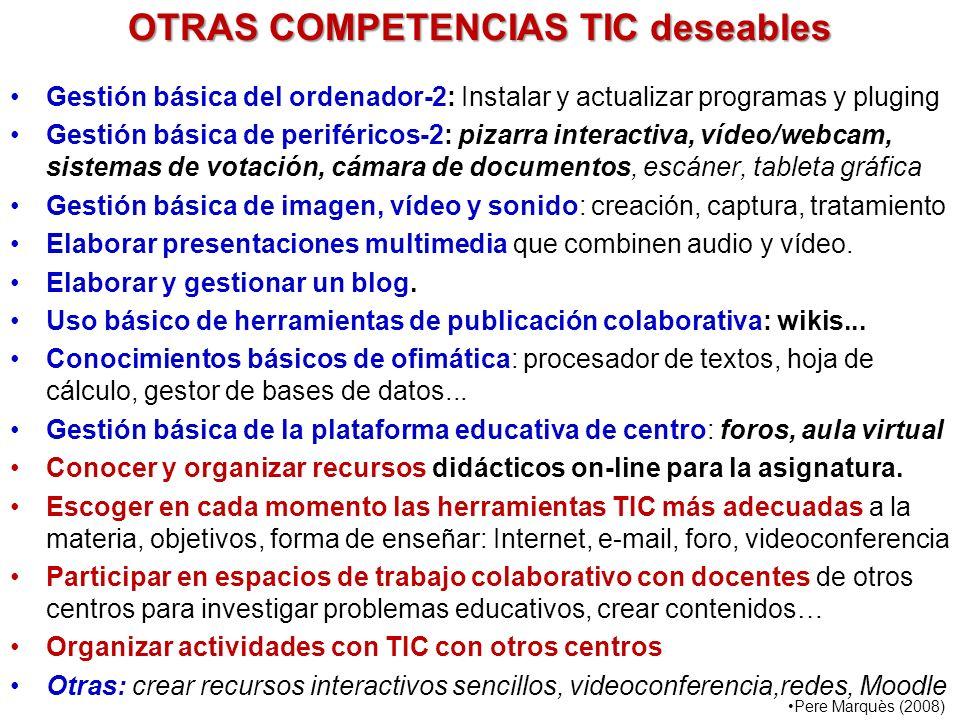 OTRAS COMPETENCIAS TIC deseables