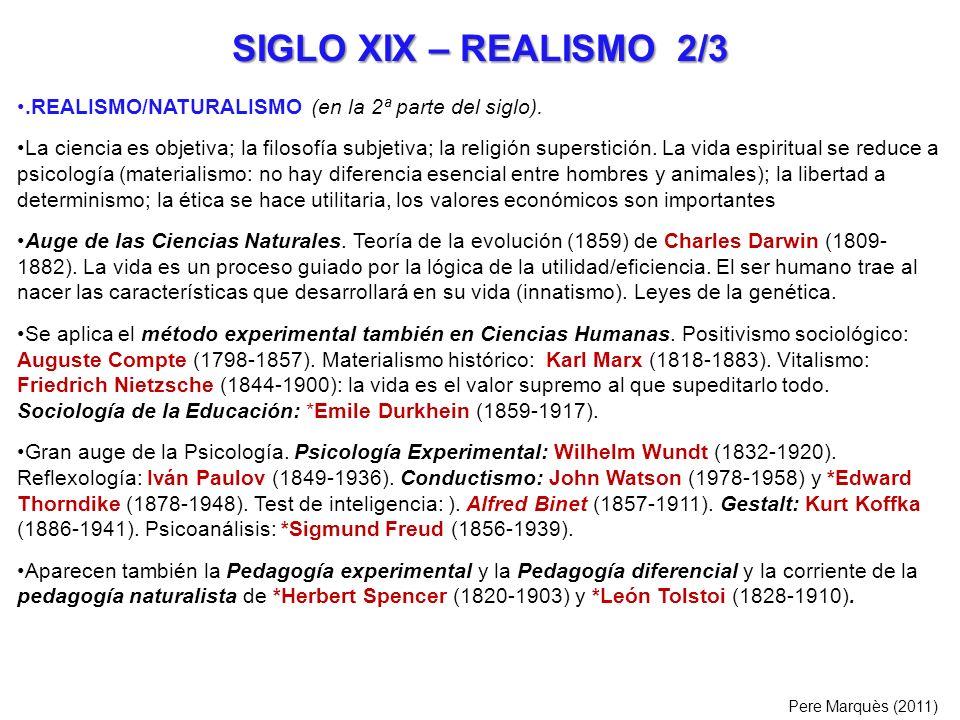 SIGLO XIX – REALISMO 2/3 .REALISMO/NATURALISMO (en la 2ª parte del siglo).