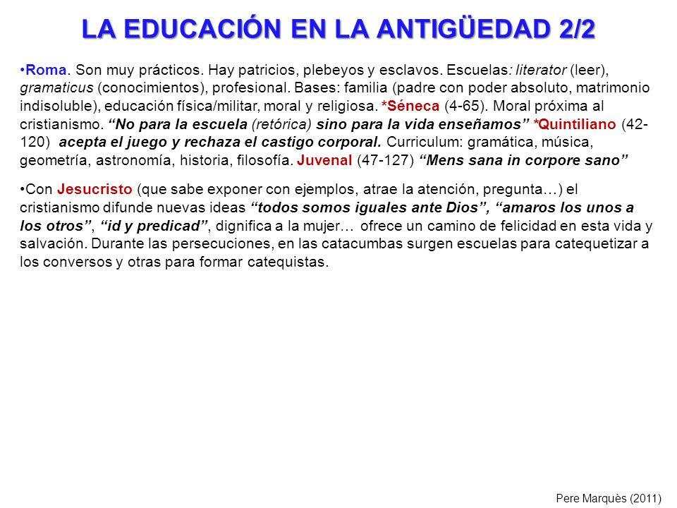 LA EDUCACIÓN EN LA ANTIGÜEDAD 2/2