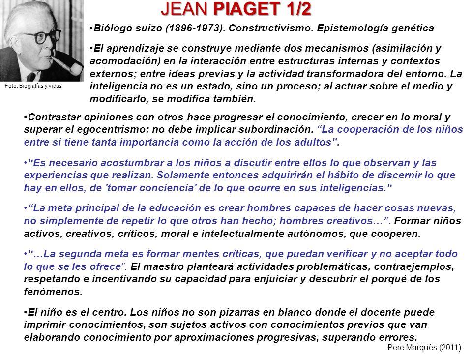 JEAN PIAGET 1/2Biólogo suizo (1896-1973). Constructivismo. Epistemología genética.