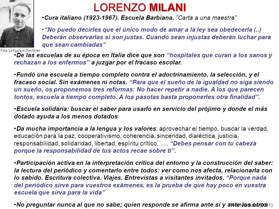 LORENZO MILANI Cura italiano (1923-1967). Escuela Barbiana. Carta a una maestra
