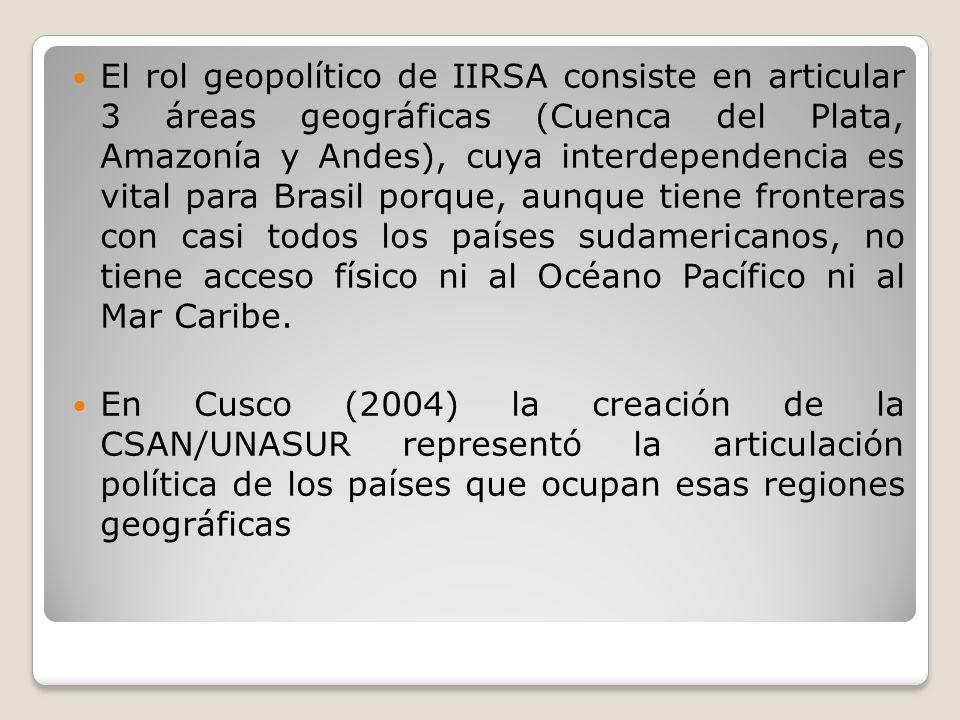 El rol geopolítico de IIRSA consiste en articular 3 áreas geográficas (Cuenca del Plata, Amazonía y Andes), cuya interdependencia es vital para Brasil porque, aunque tiene fronteras con casi todos los países sudamericanos, no tiene acceso físico ni al Océano Pacífico ni al Mar Caribe.