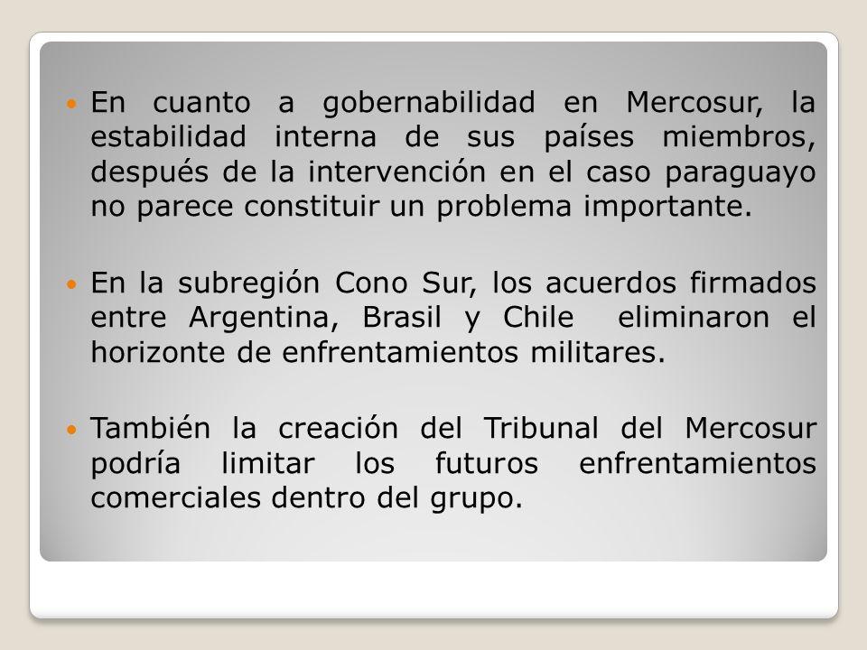 En cuanto a gobernabilidad en Mercosur, la estabilidad interna de sus países miembros, después de la intervención en el caso paraguayo no parece constituir un problema importante.