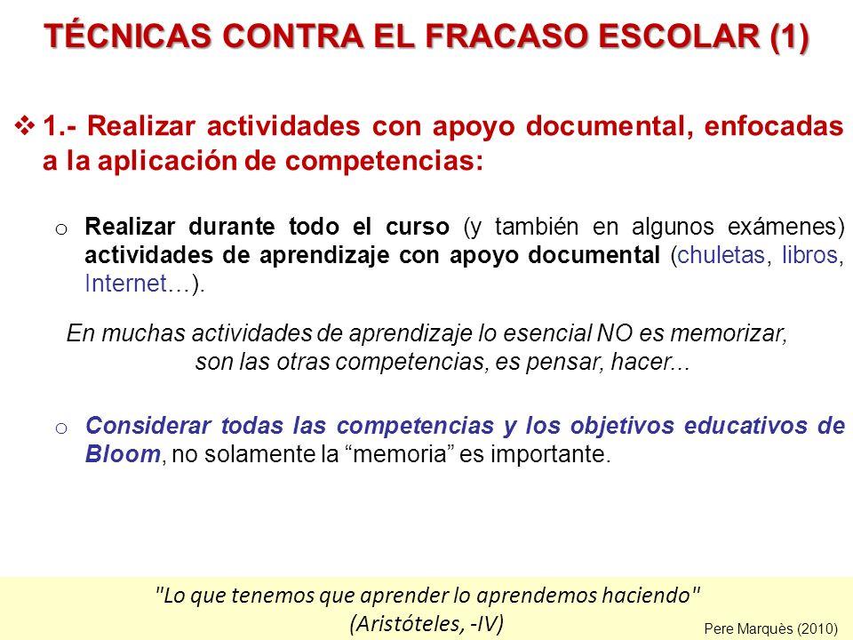TÉCNICAS CONTRA EL FRACASO ESCOLAR (1)