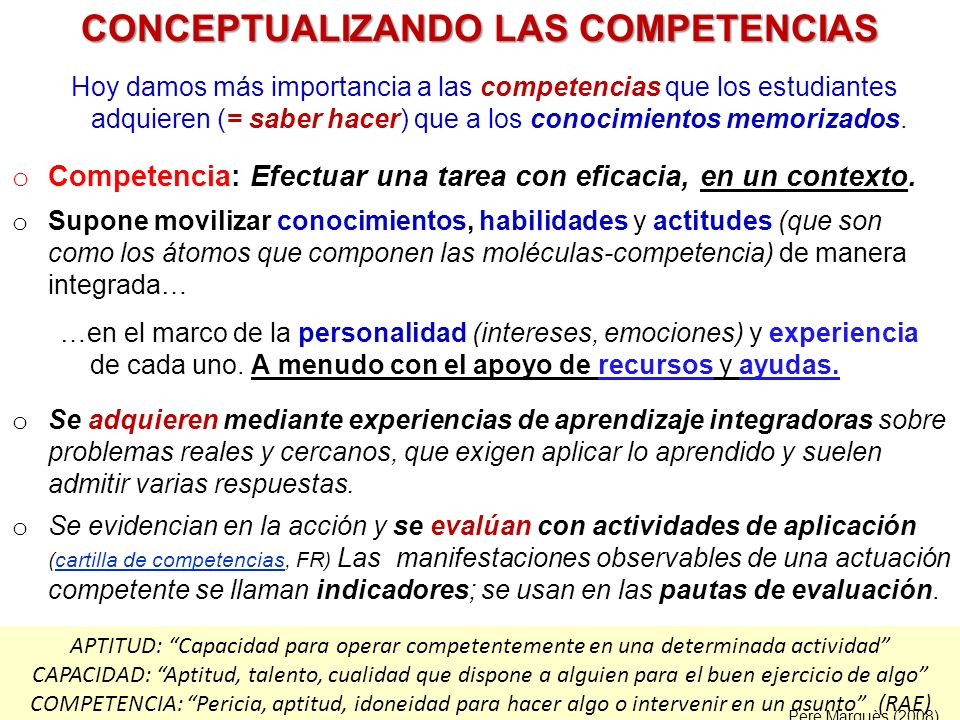 CONCEPTUALIZANDO LAS COMPETENCIAS