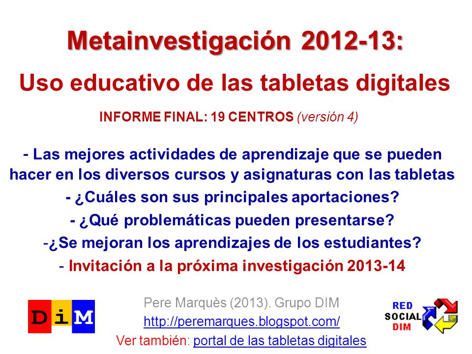 Metainvestigación 2012-13: Uso educativo de las tabletas digitales