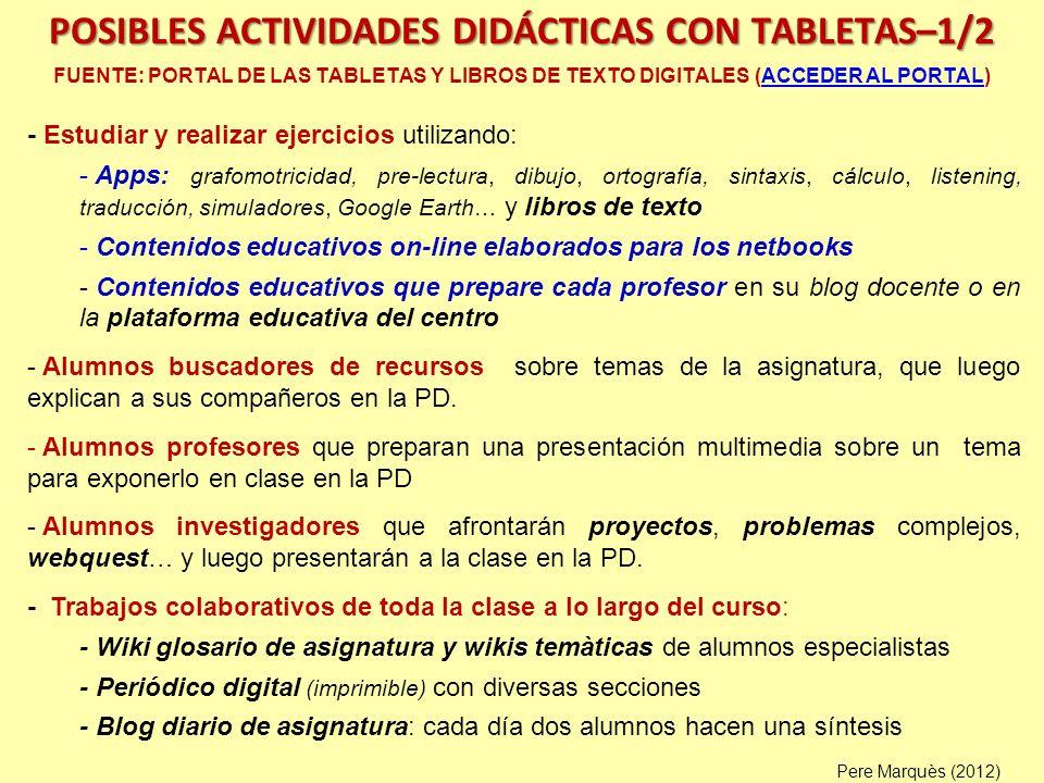 POSIBLES ACTIVIDADES DIDÁCTICAS CON TABLETAS–1/2