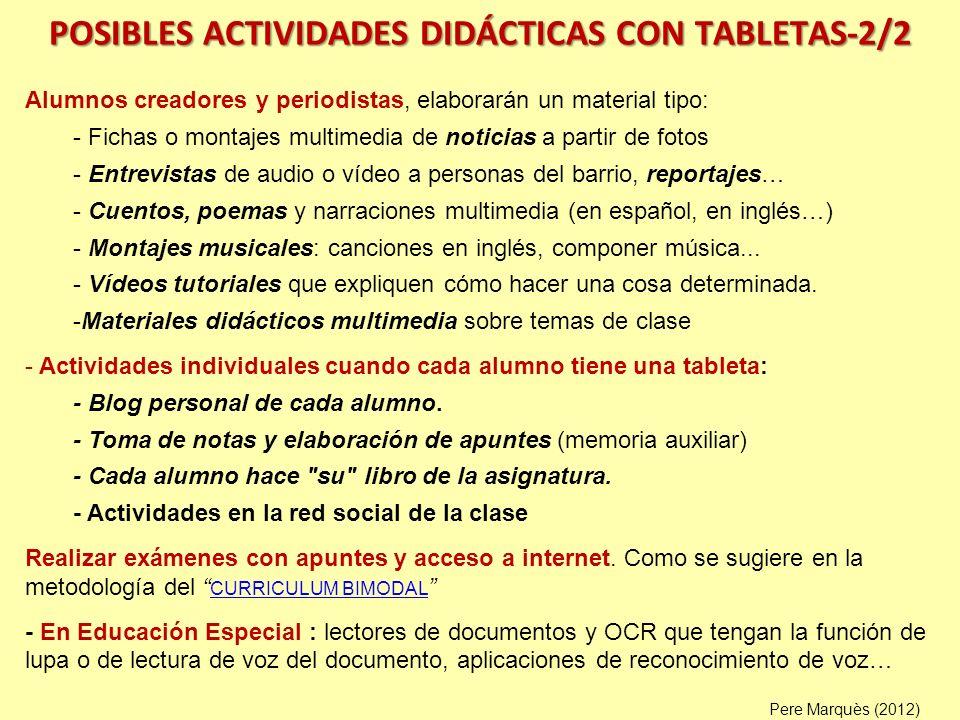 POSIBLES ACTIVIDADES DIDÁCTICAS CON TABLETAS-2/2