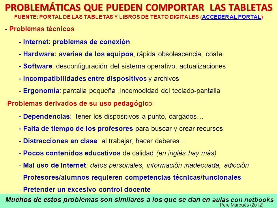 PROBLEMÁTICAS QUE PUEDEN COMPORTAR LAS TABLETAS FUENTE: PORTAL DE LAS TABLETAS Y LIBROS DE TEXTO DIGITALES (ACCEDER AL PORTAL)