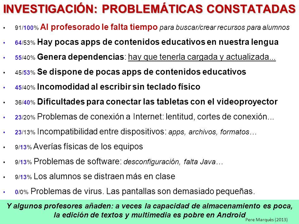 INVESTIGACIÓN: PROBLEMÁTICAS CONSTATADAS