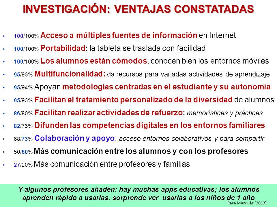 INVESTIGACIÓN: VENTAJAS CONSTATADAS