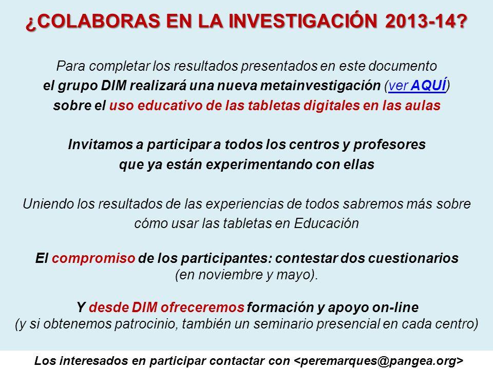 ¿COLABORAS EN LA INVESTIGACIÓN 2013-14