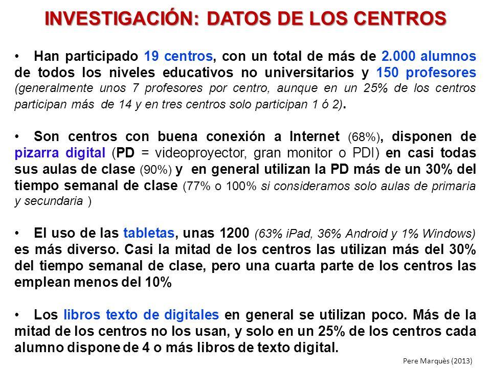 INVESTIGACIÓN: DATOS DE LOS CENTROS