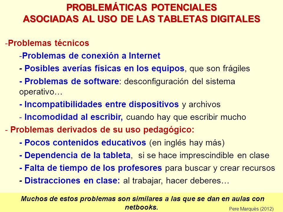 PROBLEMÁTICAS POTENCIALES ASOCIADAS AL USO DE LAS TABLETAS DIGITALES