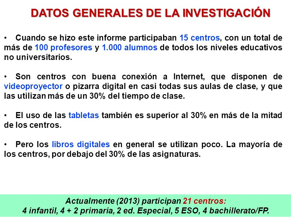 DATOS GENERALES DE LA INVESTIGACIÓN