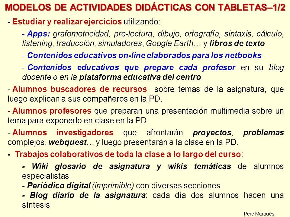 MODELOS DE ACTIVIDADES DIDÁCTICAS CON TABLETAS–1/2