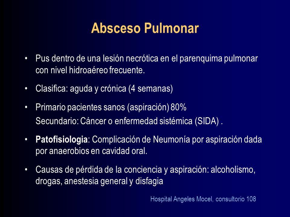 Absceso PulmonarPus dentro de una lesión necrótica en el parenquima pulmonar con nivel hidroaéreo frecuente.
