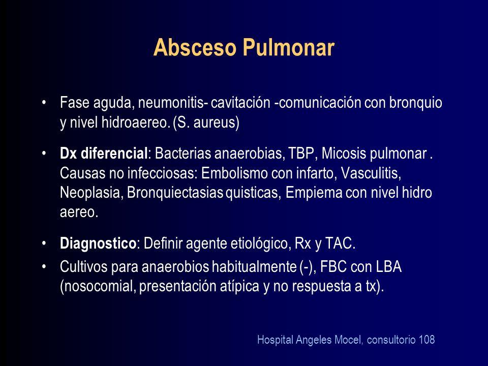 Absceso Pulmonar Fase aguda, neumonitis- cavitación -comunicación con bronquio y nivel hidroaereo. (S. aureus)