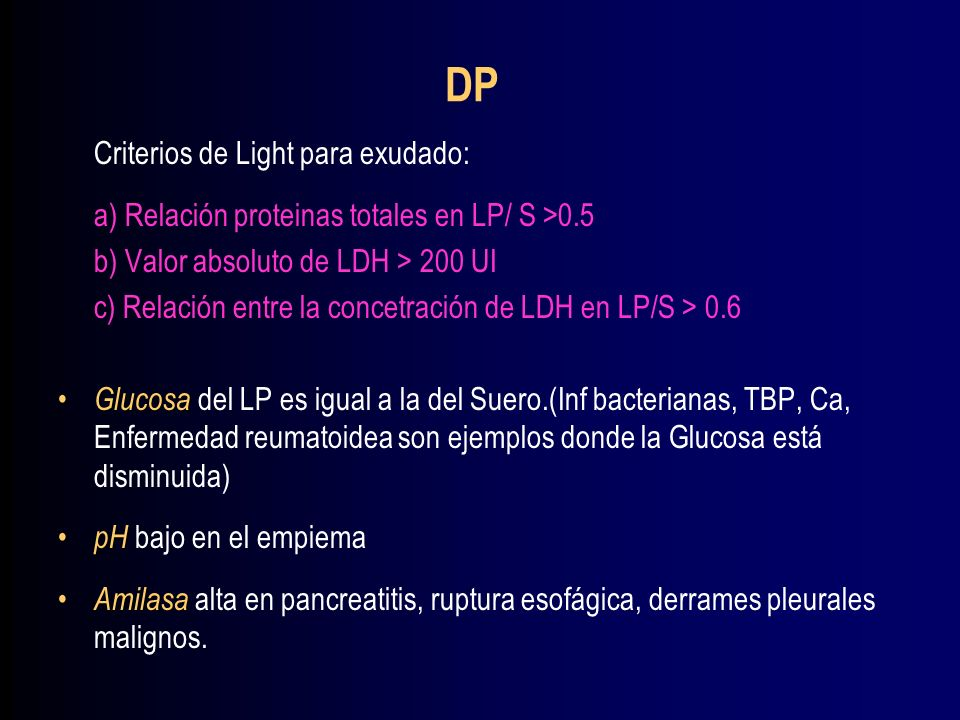 DP Criterios de Light para exudado: