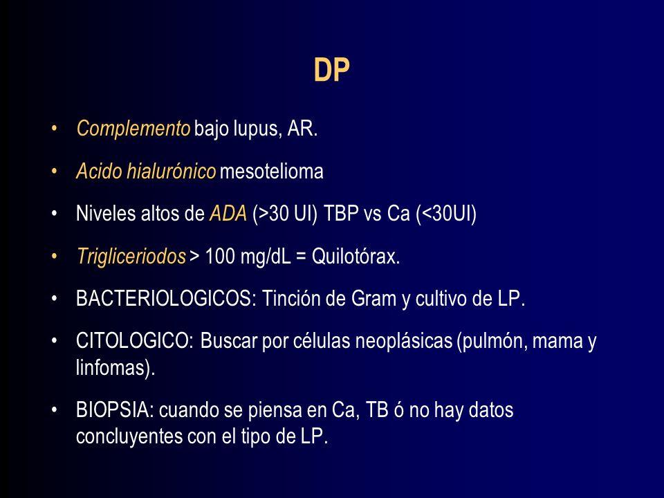 DP Complemento bajo lupus, AR. Acido hialurónico mesotelioma