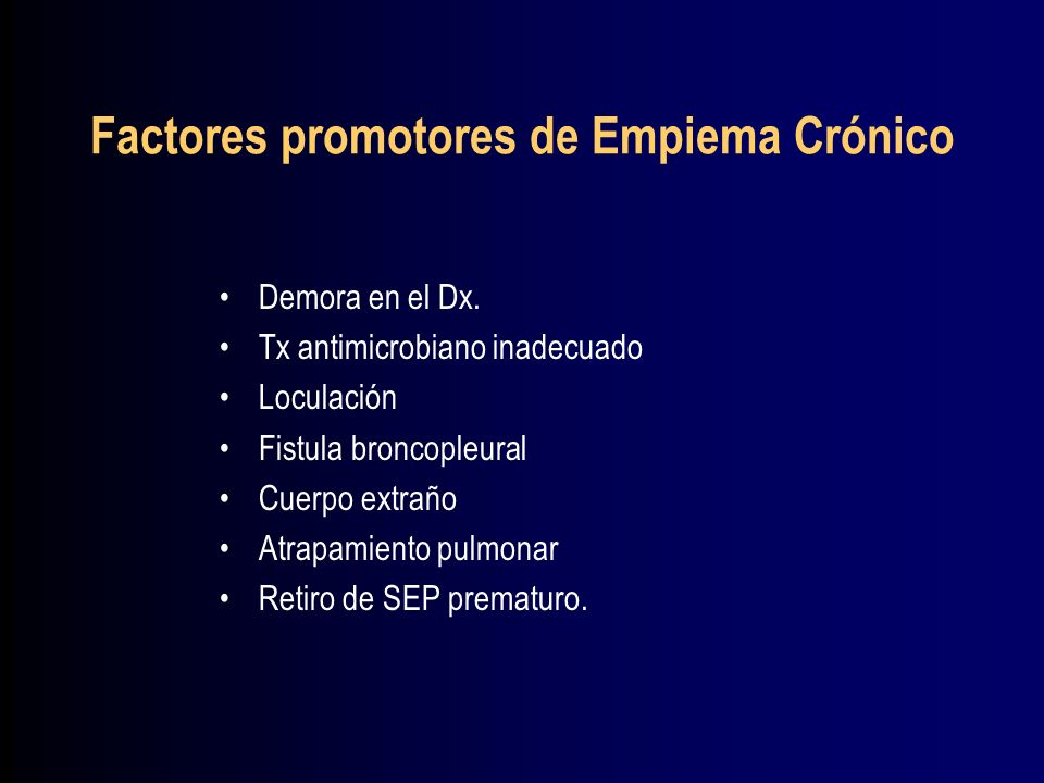 Factores promotores de Empiema Crónico