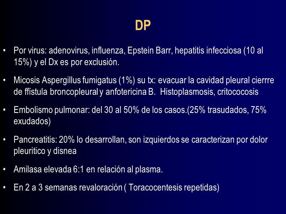 DPPor virus: adenovirus, influenza, Epstein Barr, hepatitis infecciosa (10 al 15%) y el Dx es por exclusión.