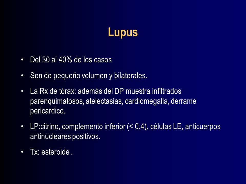 Lupus Del 30 al 40% de los casos Son de pequeño volumen y bilaterales.
