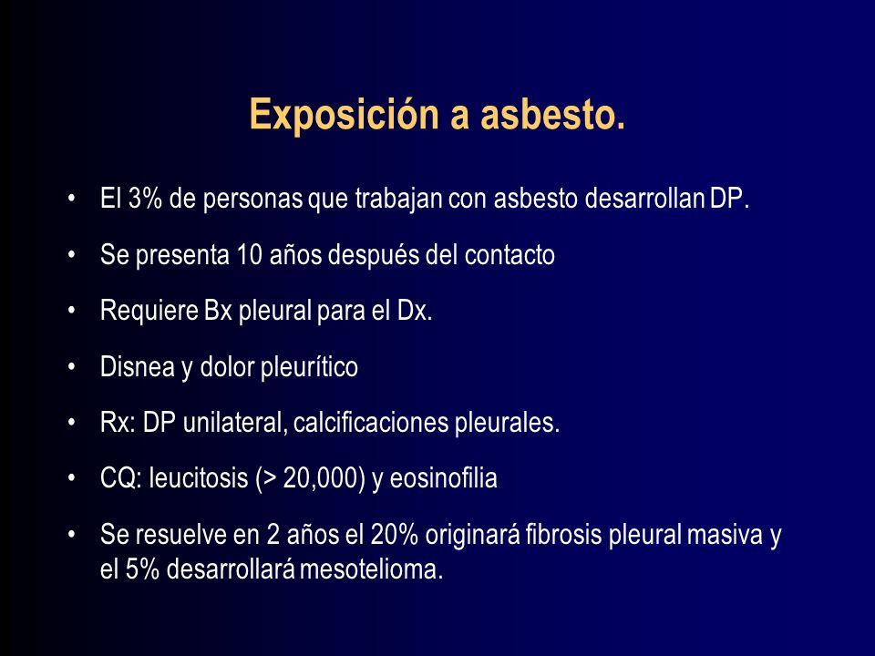 Exposición a asbesto. El 3% de personas que trabajan con asbesto desarrollan DP. Se presenta 10 años después del contacto.