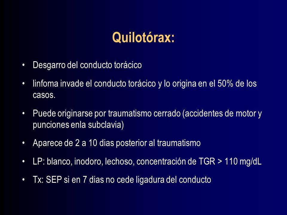 Quilotórax: Desgarro del conducto torácico
