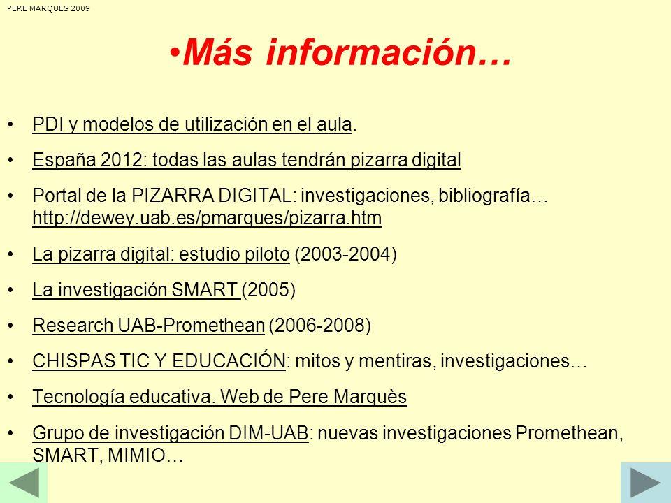 Más información… PDI y modelos de utilización en el aula.