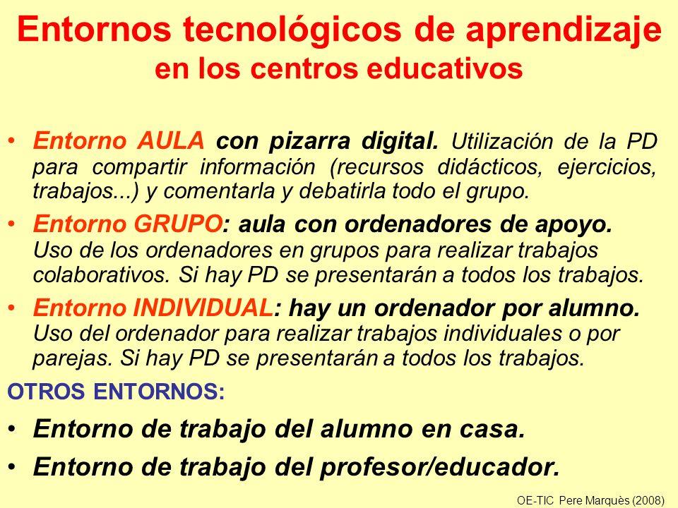 Entornos tecnológicos de aprendizaje en los centros educativos