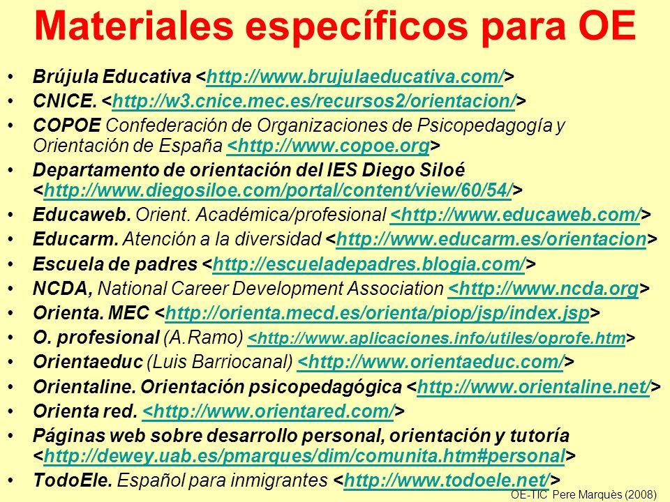 Materiales específicos para OE