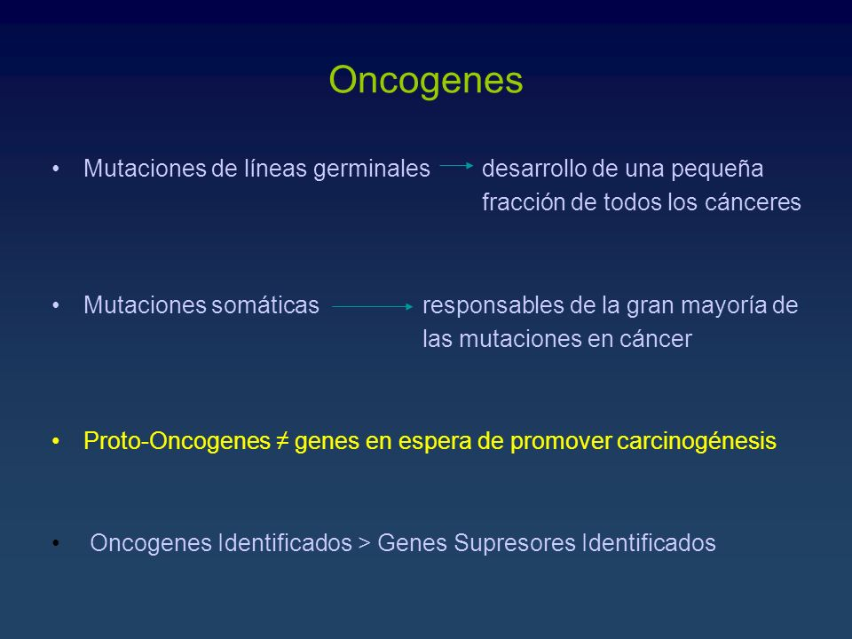 Oncogenes Mutaciones de líneas germinales desarrollo de una pequeña