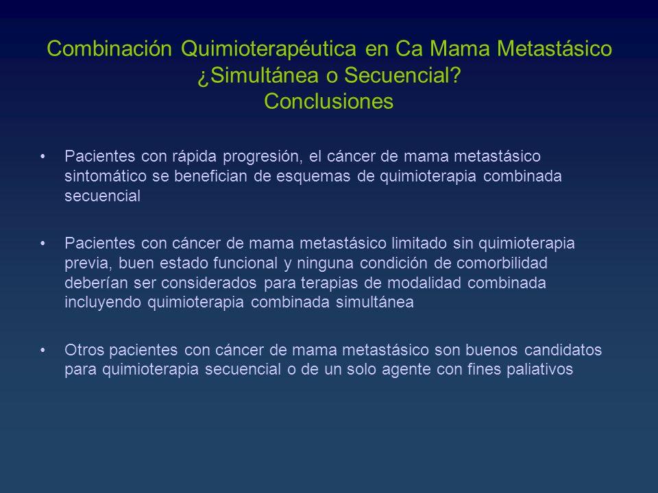 Combinación Quimioterapéutica en Ca Mama Metastásico ¿Simultánea o Secuencial Conclusiones