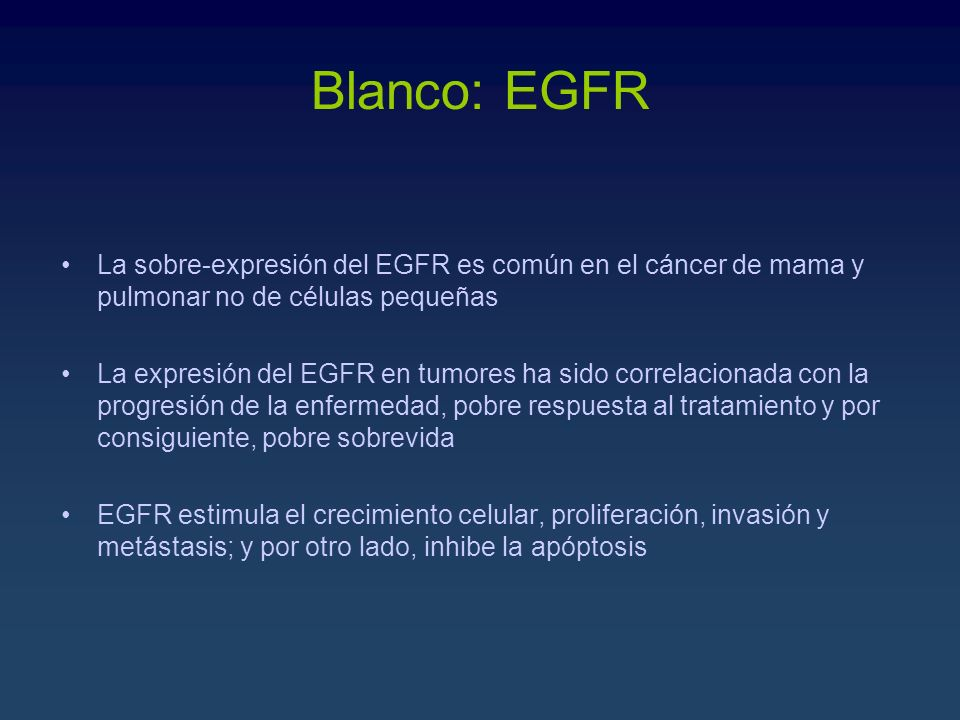 Blanco: EGFR La sobre-expresión del EGFR es común en el cáncer de mama y pulmonar no de células pequeñas.