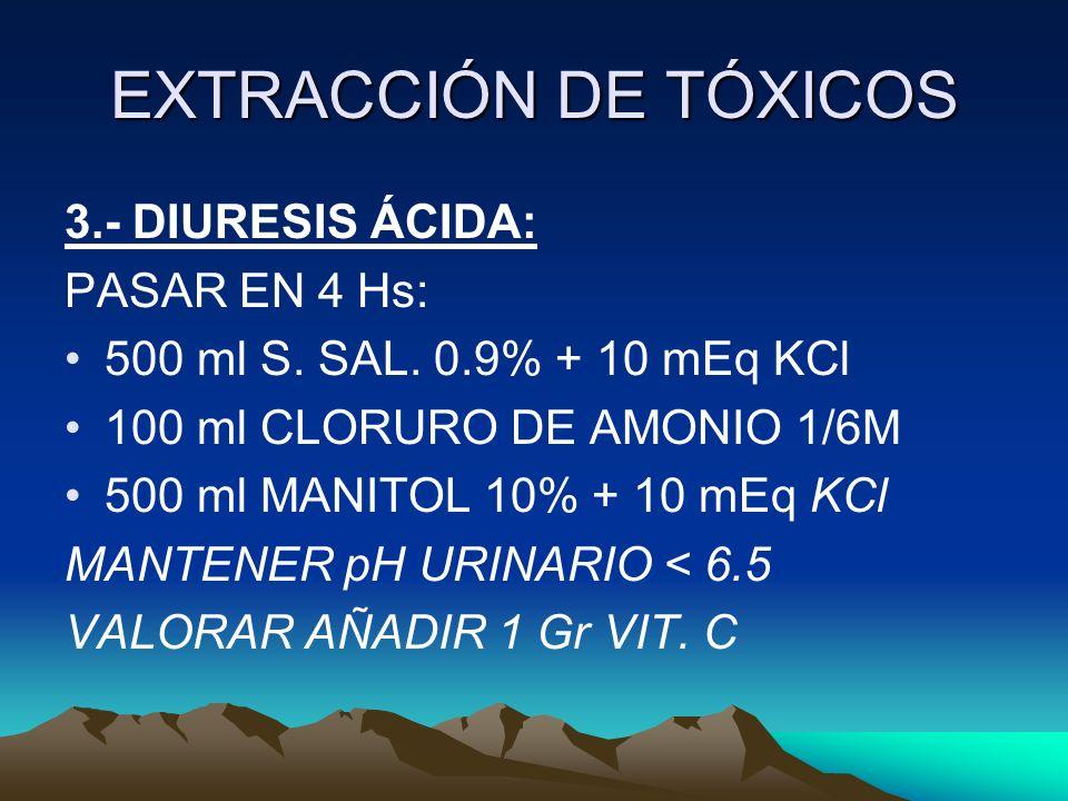 EXTRACCIÓN DE TÓXICOS 3.- DIURESIS ÁCIDA: PASAR EN 4 Hs: