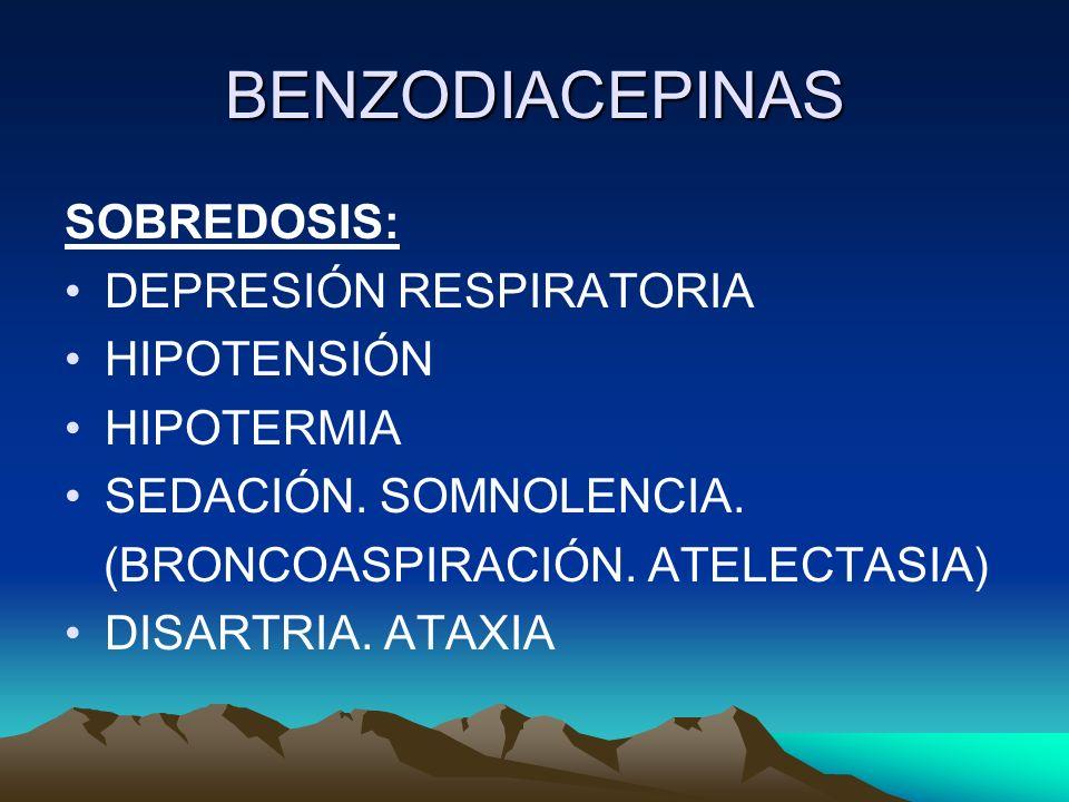 BENZODIACEPINAS SOBREDOSIS: DEPRESIÓN RESPIRATORIA HIPOTENSIÓN