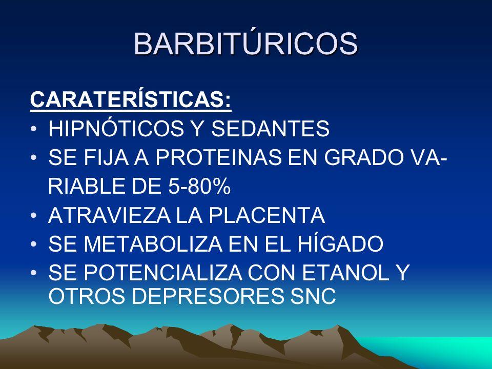 BARBITÚRICOS CARATERÍSTICAS: HIPNÓTICOS Y SEDANTES