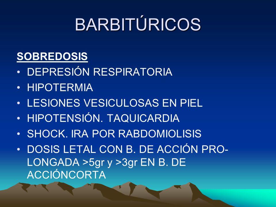 BARBITÚRICOS SOBREDOSIS DEPRESIÓN RESPIRATORIA HIPOTERMIA