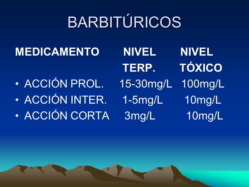 BARBITÚRICOS MEDICAMENTO NIVEL NIVEL TERP. TÓXICO